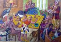 Tischgesellschaft mir Kranichen,2005