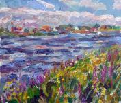 Elbe mit Wildblumen, 2020