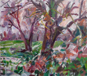Feld,Bäume, Schnee,,2021
